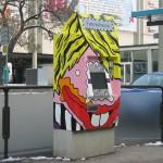 Erster Fahrscheinautomat vor dem Nationaltheater in Mannheim