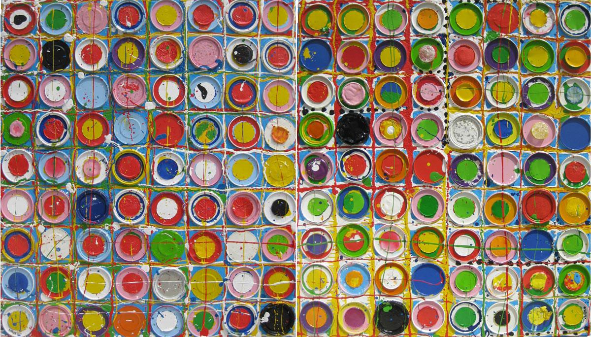 Acryl mit Lackdosendeckel auf Leinwand, 280 cm x 160 cm,  2010
